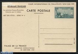 France 1939 Postcard New York Expo 0.70 Bluegreen, (Unused Postal Stationary), Art - Sculpture - Storia Postale
