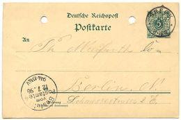 Germany 1898 5pf Crown Postal Card Speck To Berlin - Germany
