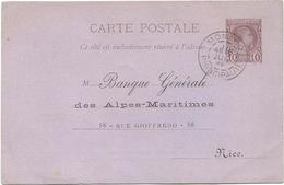 ENTIER 10C MONACO CP 1892 PRINCIPAUTE REPIQUAGE BANQUE REGIONAL NICE ALPES MARITIMES RARE - Ganzsachen