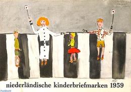 Philatelic Folders 1959 Original Dutch Promotional Folder From 1959, Child Welfare, German Language, (Mint NH), Traffic - Unclassified