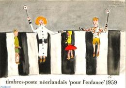 Philatelic Folders 1959 Original Dutch Promotional Folder From 1959, Child Welfare, French Language, (Mint NH), Traffic - Unclassified