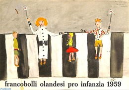 Philatelic Folders 1959 Original Dutch Promotional Folder From 1959, Child Welfare, Italian Language, (Mint NH), Traffic - Unclassified