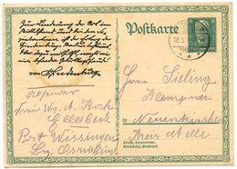 Germany 1928 8pf Hindenburg Birthday Postal Card Wissingen To Neuenkirchen Kreis Melle - Entiers Postaux