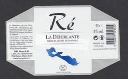 Etiquette De Bière Blanche  -  La Déferlante  -  Brasserie De Ré à  Sainte Marie De Ré   (17) - Bière