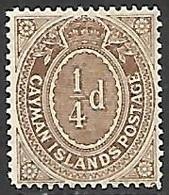 Cayman Islands  1908   Sc#31   1/4d  Brown   MLH*  2016 Scott Value $6 - Cayman Islands