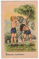 """FANTAISIE ENFANT LITTLE BOY GIRL MAEDCHEN Illustrateur Signé IDRAC : """" Toilette Matinale """" Thème Scouts Scout Scoutisme - Enfants"""