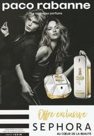 Paco RABANNE  Flyer De Séphora Pour Les Nouveaux Parfums *Million...* - Cartes Parfumées
