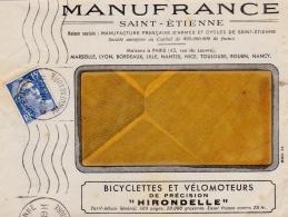 """FRANCE :  Gandon 15f Bleu Sur Lettre Manufrance  """" Bicyclettes Et Vélomoteurs """" - Marcofilia (sobres)"""