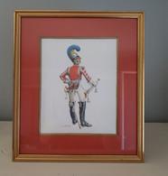 Aquarelle Encadrée D'un Trompette De La Garde Royaume De Bavière 1814 - 1825 - Watercolours
