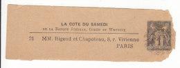 _ Bande Journal 1 C Sage TSC Papier Bulle .. La Cote Du Samedi  Timbre à Droite, SAG A10c .. Cote 75 Euro; ..Defaut - Entiers Postaux