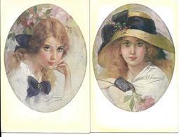 A.SIMEONE - Série 4 Cartes . Jeunes Filles - Autres Illustrateurs
