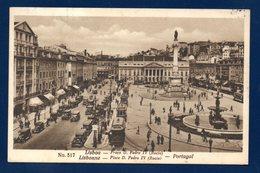 Portugal. Lisbonne. Scène De Vie Place Don Pedro. Tramways, Voitures, Passants. 1933 - Lisboa