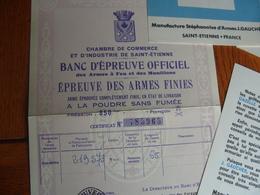 Lot Papier Document Carabine Colibri Saint Etienne Ets Gaucher - Vieux Papiers