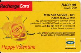 NIGERIA - Happy Valentine, MTN Recharge Card N 400, Used - Nigeria