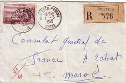 CORSE - GROSSETO-PRUGNA - 7-8-1959 - LETTRE RECOMMANDEE POUR LE MAROC - AFFRANCHISSEMENT A 85f. - Postmark Collection (Covers)