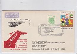 FIRST FLIGHT. 60 AÑOS CORREEO AEREO, VUELO CONMEMORATIVO MDV BOG 1978. URUGUAY-BLEUP - Uruguay
