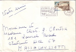 PARIS - FLAMME - MARYSE BASTIE 30e ANNIVERSAIRE - AFFRANCHISSEMENT A 0F95 POUR LES ETATS UNIS - 16-12-1966. - Postmark Collection (Covers)