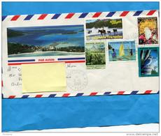 MARCOPHILIE-Lettre-POLYNESIE-pour Françe-cad 1993 Ile Tahiti -bel Affranchissement 5 Timbres - Lettres & Documents