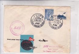 FIRST FLIGHT. SAS FIRST REULAR SCANDINAVIA-LOS ANGELES 1954. NORGE.-BLEUP - Airmail