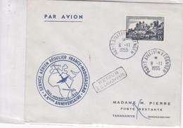 FIRST FLIGHT. SERVICE REGUOLIER FRANCE-MADAGASCAR XXe ANNIVERSAIRE 1955. FRANCE.-BLEUP - Airmail