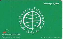 MONACO - Carte Du Monde, Monaco Telecom Recharge Card 7.50 Euro, Used - Monaco