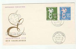 1958 Saarbrocken SAAR FDC  EUROPA Stamps Cover - FDC