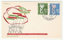 1958  SAAR FDC  EUROPA Stamps Cover Edition ENA Bruxelles - FDC