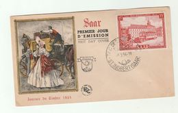 1954 SAAR FDC  Stamp Day BUS Stamps Cover  Illus Historic Mail Coach Costume - FDC