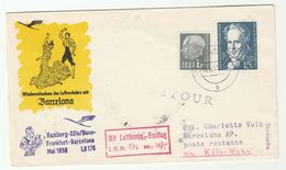 1958 SAAR First FLIGHT COVER  To Barcelona SPAIN Via LUFTHANSA  Humboldt Mineralogy Stamps Cover Aviation Minerals - 1957-59 Federation