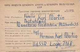Kriegsgefangenenpost UdSSR Lager 7168-XIV Nach Mannheim - 1947 (35244) - 1923-1991 URSS