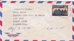 DR HOMERO MARTINEZ TO LIC CELIA VARAN. AIRMAIL CIRCULEE QUITO ECUADOR A BUENOS AIRES. CIRCA 1988.-BLEUP - Ecuador