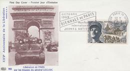 Enveloppe   FDC  Flamme  1er  Jour   Maréchal  LECLERC    Libération  De  PARIS   1969 - 1960-1969