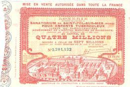 BILLET LOTERIE SANATORIUM SAINT POL SUR MER ZUYDCOOTE ENFANT TUBERCULOSE 1908 - Billets De Loterie