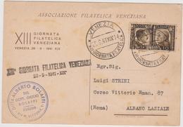 XIII° Giornata Filatelica Veneziana  28 Settembre 1941, Cartolina Ufficiale Con Annullo - F.G. - Expositions Philatéliques