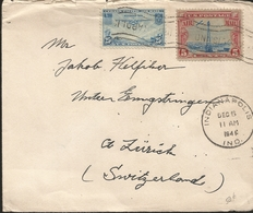 L) 1946 USA, AIRPLANE, 25C, BLUE, 5CENTS, CIRCULATED COVER FROM USA TO SWITZERLAND - Brieven En Documenten
