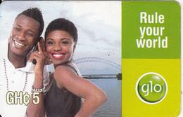 GHANA - Couple On Phone, GLO Prepaid Card GHc 5, Exp.date 02/08/14, Used - Ghana