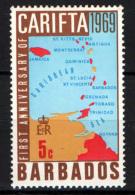 BARBADOS - 1969 - MAPPA DELLE ISOLE CARAIBICHE - MH - Barbados (1966-...)