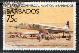 BARBADOS - 1989 - CONCORDE IN AEROPORTO - 50° ANNIVERSARIO DELL'AVIAZIONE CIVILE NELLE BARBADOS - USATO - Barbados (1966-...)