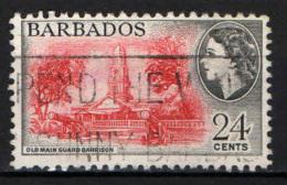 BARBADOS - 1956 - EFFIGIE DELLA REGINA ELISABETTA II E VECCHIA GUARNIGIONE DELLA GUARDIA PRINCIPALE - USATO - Barbados (...-1966)