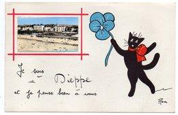 """DIEPPE--illustrateur René (chat Noir)-fantaisie """"Je Suis à Dieppe Et Je Pense à Vous""""-Mini-Vue De La Plage-cachet Dieppe - Dieppe"""
