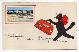 """DIEPPE--illustrateur René (chat Noir,valise )-fantaisie """"Bonjour De Dieppe """"-Mini-Vue De La Plage-cachet Dieppe - Dieppe"""