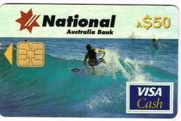 Australie Telecarte Et Carte Credit 50 $ National Australia Bank Cash Card Visa Essai Goldcoast Surf TBE - Télécartes