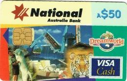 Australie Telecarte Et Carte Credit 50 $ National Australia Bank Cash Card Visa Essai Goldcoast Dreamworld Tiger TBE - Télécartes