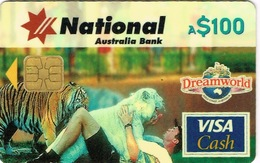 Australie Telecarte Et Carte Credit 100 $ National Australia Bank Cash Card Visa Essai Goldcoast Dreamworld Tiger TBE - Télécartes
