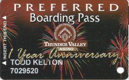 Thunder Valley Casino Lincoln CA - 1st Year Anniversary Preferred Boarding Pass Slot Card - Casino Cards