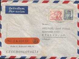 L) 1945 CZECHO-SLOVAKIA, GEN. MILAN STEFANIK, 10K, BLUE, AIRPLANE, PILO 1.50KCS, NOVAK, IRMAIL, CIRCULATED COVER FROM - Czechoslovakia