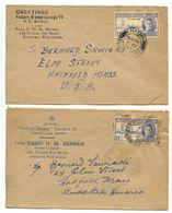 Sierra Leone 1947 2 Covers Freetown To Hatfield MA, Scott 184 KGVI & Peace - Sierra Leone (...-1960)