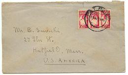 South Africa 1946 Cover Piet Retief To Hatfield MA, Scott 90 Nurse, Strip Of 3 - South Africa (...-1961)