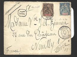 Indochine Lettre Recommandée Du 24 Juillet 1901  Vers Neuilly Sur Seine  Arrivée Le 26 - Indochine (1889-1945)