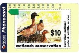 Australie Australia Telecarte Phonecard Privee Wood Duck Canard Oiseau Parc Wildlife Ut Used TBE - Australia
